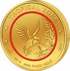 Preisvergleich Produktbild SAMMLERMÜNZE: Tropische Zone 2017 * kleine goldmünze 0,5g * 0,999er feingold * motiv Kolibri * limitiert