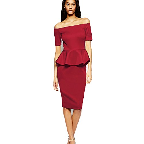 Mavis's Diary Femme Robe Crayons Frill Manches Courtes Dos Nu Haut Taille Polyester Coton Moulant Mince Rouge