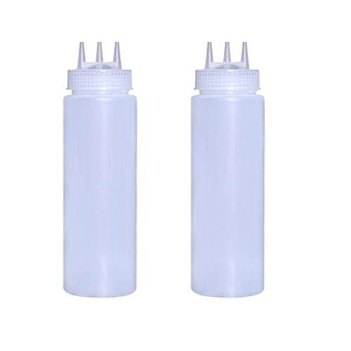 2 STÜCKE 24 unzen / 720 ml 3 Loch Sauce Squeeze Gewürzflaschen Dispenser für Sauce Senf Ketchup Küche Zubehör - Ketchup Squeeze Dispenser