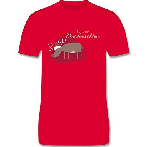 Weihnachten & Silvester - Schöne Weihnachten Elch Weihnachtsmütze - Herren Premium T-Shirt Rot