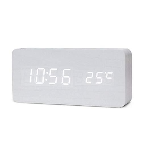 GWF Wecker Für Heavy Sleepers Schlafzimmer Tischuhren Sprachsteuerung Thermometer Home LED Zeit Digitalanzeige Dimmer Erwachsene Kinder (Farbe : A)