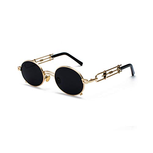 Sports Eyewear, Retro Steampunk Sunglasses Men Round Vintage NEW Metal Frame Gold Black Oval Sun Glasses For Women Red Male Gift as show in photo gold with red
