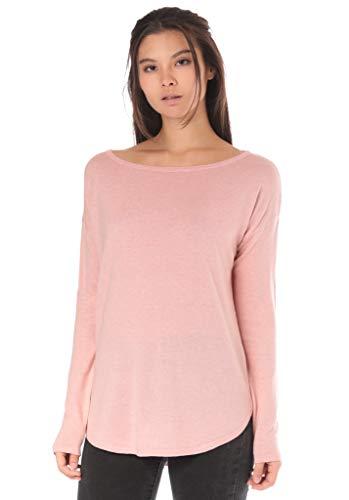 Lakeville Mountain Damen Strick-Pullover MAGUI Lässiger Strick-Pulli für Frauen Atmungsaktiv Business & Freizeit-Sweatshirt Langarm-Shirt mit U-Ausschnitt Regular Fit Einfarbig Rose Rosa Pink L