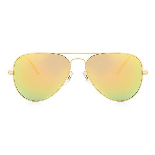Yiph-Sunglass Sonnenbrillen Mode Sonnenbrille polarisierte Klassische ovale Brillen Oculos Polarizado De Sol mit Fällen (Color : Golden+Yellow)
