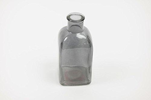 INNA Glas Eckige Glasvase KAYRA, transparent schwarz, 6 x 6 x 13,5 cm - Farbiges Glas/Blumen...
