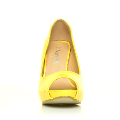 High Heels Stöckelschuhe Tia gelb Lackleder PU Leder Stilettos sehr hoch mit Plateau Peeptoes Gelb Lackleder