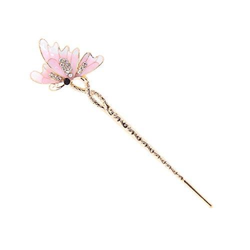 Pique / Epingle à Cheveux Strass Papillon en Metal Ethnique Mode Clair - Rose, XL