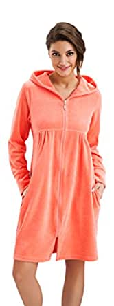 Womens Soft and Comfortable Short Housecoat Hooded