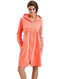 1bc1905936 Womens Soft and Comfortable Short Housecoat Hooded Dressing Gown Zip Up  Style Bathrobe