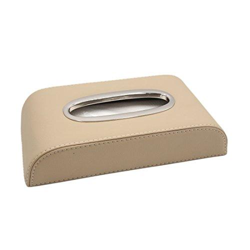 sourcingmap Beige Faux Leder Auto Serviette Gewebe Kosmetiktücher Aufbewahrungsbox Halter DE -