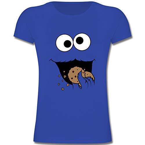Cookie Mädchen Kostüm Monster - Karneval & Fasching Kinder - Keks-Monster - 128 (7-8 Jahre) - Royalblau - F131K - Mädchen Kinder T-Shirt