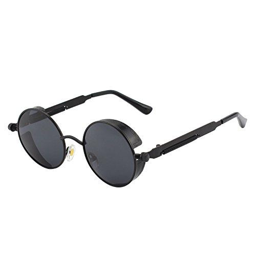 GQUEEN Lunettes de soleil Polarisées Ronde Rétro Métal Cadre Steampunk pour Homme et Femme Unisexe avec protection UV400 MTS2
