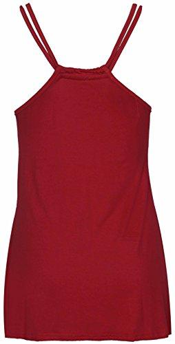 Damen Neu Einfarbig Ärmellos Damen Dünn Doppelte Riemen U-ausschnitt Stretch Racerback Riemenweste Top Rot