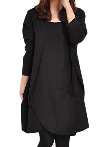 Frühling Herbst Trenchcoat Langarm Loose Kleid Jacke Sweater (36, Schwarz)