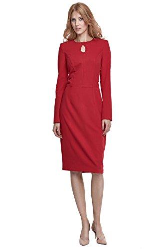 nife – Etuikleid mit langen Ärmeln und Cut Out am Dekolleté Business-Kleid Bleistiftkleid Pencilkleid Abendkleid knielang langarm Schwarz