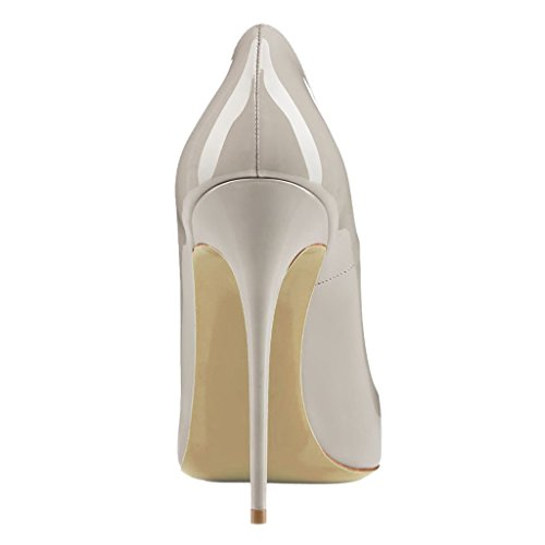 EKS Damen Spitz High Heels Kleid-Partei Pumps Grau-Lackleder