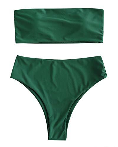 ZAFUL Damen Bikini-Set Schulterfrei Bandeau mit hoher Taille Knochen Seite Swimsuit Swimwear Bademode Badeanzug Bikinis-Sets Large Meeresgrün