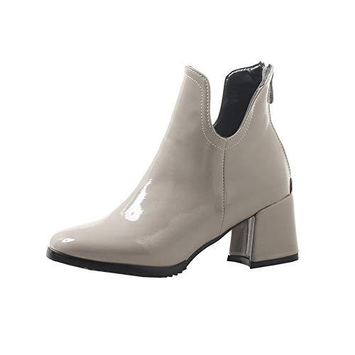Y2Y Studio Bottines Femmes Vernis de Ville Simple à Chunky Heels 6cm avec Fermeture Eclair Boottes Femmes de Pluie Automne Hiver Chaud