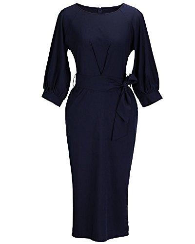SaiDeng Donna Manica Corta Vestito Abiti Retro Fascino Elegante Sottile Ginocchio Gonna Blu marino