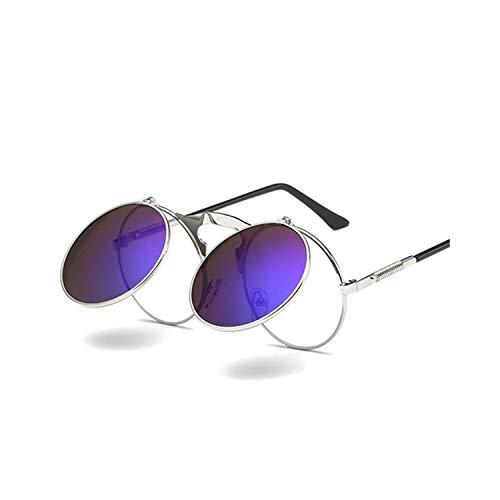 Vikimen Sportbrillen, Angeln Golfbrille,Retro Steam Punk Sunglasses Round Metal Frames Steampunk Sun Glasses Women Men Brand Designer Vontage Eyewear UV400 Gold Black Gray