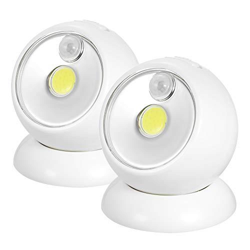 Festnight Außen-Sicherheitsbeleuchtung 360 °Rotation Arbeitslicht Kabelloser LED-Strahler Abnehmbares Doppelseitiges Klebeband Bewegungsmelder Luminea Lampe Batterie Wandleuchte Schnurlos