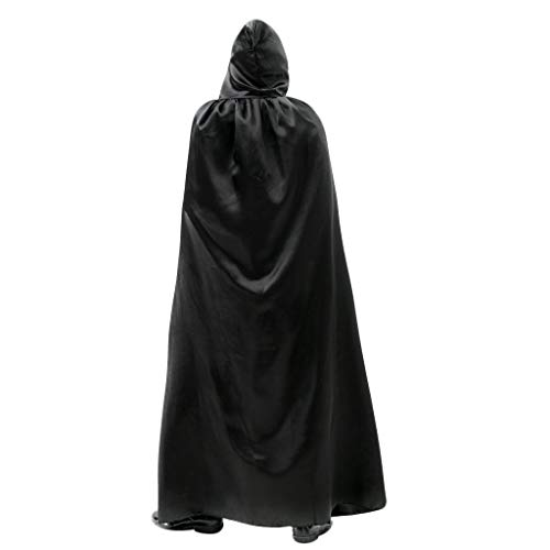 Dabixx Adult Long Satin Mantel Halloween Weihnachts Party Kapuzen Fancy Cape Vampire RoleBlack
