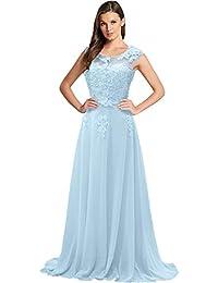 Gorgeous Bride Modisch Lang Rundkragen A-Linie Chiffon Tuell Spitze  Schleppe Abendkleider Festkleider… 4bf97f7aac