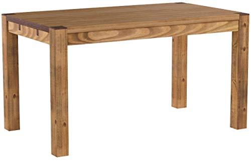 Brasilmöbel Esstisch Rio Kanto 140x80 cm Brasil Pinie Massivholz Größe und Farbe wählbar Esszimmertisch Küchentisch Holztisch Echtholz vorgerichtet für Ansteckplatten Tisch ausziehbar