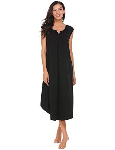 Damen Nachthemd Nachtkleid Baumwolle Lang Kurzarm Locker Sleepwear Nachtwäsche mit Augenmaske