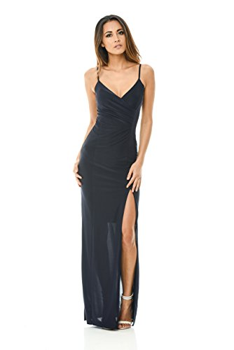 ax-paris-womens-maxi-dress-slinky-navy-wrap-front-v-neck-plunge-cocktail