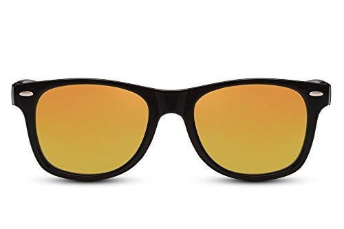 Cheapass Sonnenbrille Schwarz Rot-Gold Verspiegelt Recht-Eckig Klassisch Plastik Damen Herren