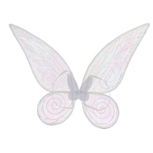 perfeclan Farbwahl Flügel Feenflügel Schmetterlingflügel Elfenflügel, Mädchen - Weiß, 46cm * - Weiße Fee Kostüm Flügel