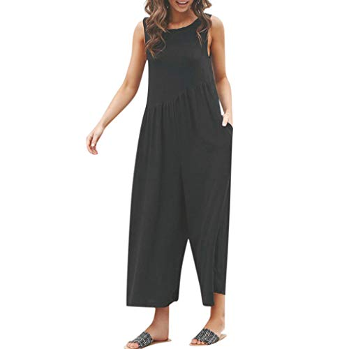 Goldatila Damen Jumpsuits & Playsuits Playsuit Sommer Sexy Kurzer Overall Ärmelloses Polyester Ärmelloses Overall Freizeithose Black 3/4 Sleeve Belted