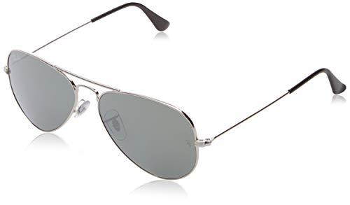 Ray Ban Unisex Sonnenbrille Aviator, Gr. Large (Herstellergröße: 55), Silber (silber W3275)