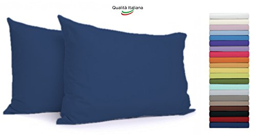Tata home coppia federe per guanciali con 3 bottoni 100% cotone misura cm 50x80 colore blu made in italy 57 fili al cm2