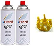 ADD GEAR IsoButane Propane Mix Butane Gas with Refill Adapter Combo -Pack of 2 Cans