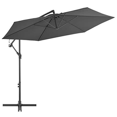 vidaXL Ampelschirm Alu Mast 300cm Anthrazit Sonnenschirm Gartenschirm Schirm