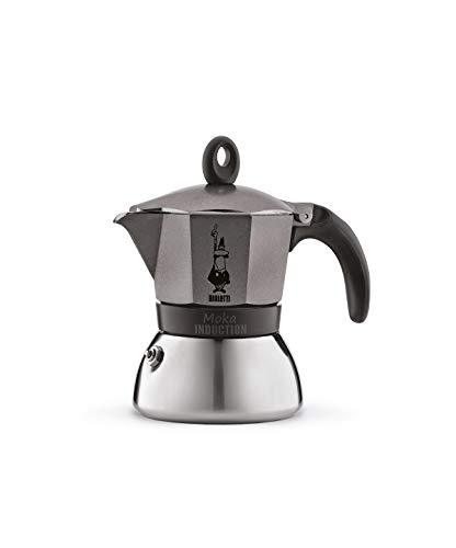 Bialetti - 4822/X4 - Moka Induction - Cafetière Italienne en Aluminium - 3 Tasses - Gris Antracite