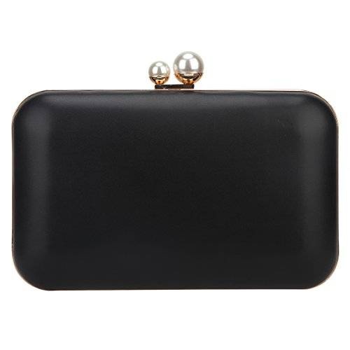 Bonjanvye Clutch Evening Bags Double Pearl Metal Frame Party Purses for Women Black