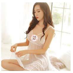 Sexy Kleidung Blutstropfen DREI-Punkt-Uniform Kleine Brust Perspektive Kleidung Nacht Feuer Passion Suit Paar Supplies (Color : Weiß)