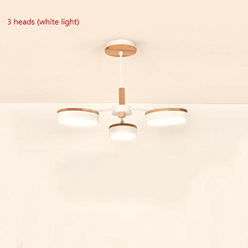 Jack Mall Nordic moderne LED wohnzimmer holz kreative persönlichkeit schlafzimmer studie esszimmer kronleuchter (Farbe : 3 heads (white light)) Jack White Iii