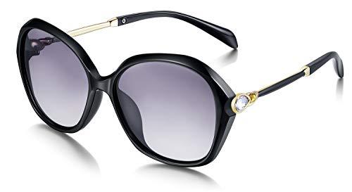 WHCREAT Damen Mode Polarisierte Sonnenbrille UV400-Schutz Übergroße Brillen - Schwarz Rahmen Schwarz Linse