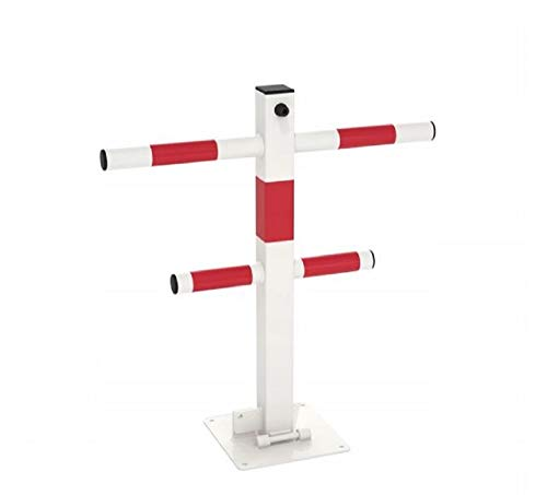PARKSPERRE PARKPLATZSPERRE KLAPPBAR PARKPLATZBÜGEL PARKSICHERUNG ABSPERRUNG (Weiß + Roten Reflexstreifen)