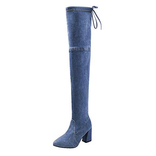 Hffan Damen Denim Overknee High Heels Hohe Stiefel Bootsschuhe Boots Winterstiefel Lederstiefel Blockabsatz Eng Stiefel Damenschuhe Stiefeletten Damenstiefel Schneestiefel(Hellblau,39EU)