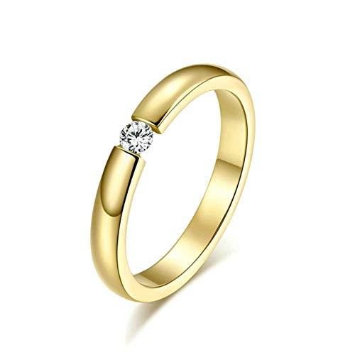 Blisfille Ringe Damen Modeschmuck Damen Ringe 3Mm Edelstahl (Mit Gratis Gravur) Einzeln Weiß Zirkonia Ehering Gold Größe 62 (19.7) Kostenlos Gravur