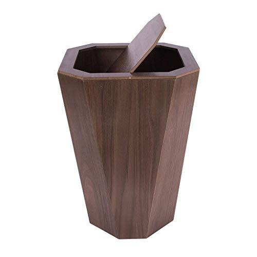 JAG Mülleimer Holz Mülleimer Rechteck Recyclingbehälter Müll Rechteck Edelstahl Mülleimer Papierkörbe Tretauto 6.5Gallon Shake Mülleimer (Farbe: Dunkelbraun)
