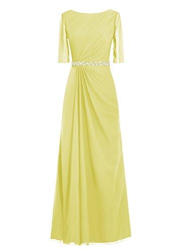 Dresstells, robe de soirée, robe de mère de mariée longueur ras du sol, manches 3/4 Jaune