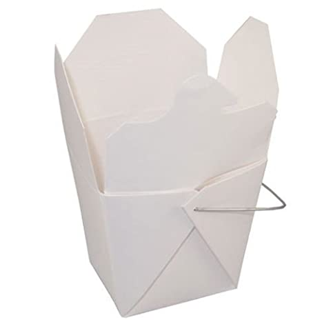 Pack of 15 Chinese Take Out Boxes WHITE 32 oz / Quart Size Party Favor and Food Pail by Fold Pak