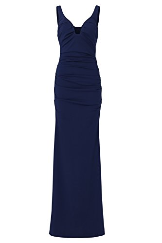 ANNN Femme Vintage Sexy Col V Sans Manche Pprofond Folds Bleu Backless Robe de Soirée Bleu