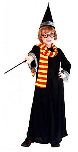 Lehrling Zauberer Kostüm - Inception Pro Infinite Größe M - 5-6 Jahre - Kostüm - Verkleidung - Karneval - Halloween - Cosplay - Zauberer Harry - Lehrlings-Zauberer - Komplett mit Zubehör - Schwarze Farbe - Kind
